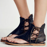 Fashion Leisure Women's Gladiator Flat Sandals / Rome Rubber Summer Beach Sandals with Ankle Strap - HARD'N'HEAVY