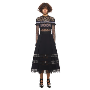 Fashion Long Sleeve Black Lace Dress / Women's Patchwork Long Dresses