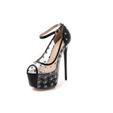 Fashion Transparent Sexy Rivet Open Toe High Heels for Women / Ultra very high heel Shoes - HARD'N'HEAVY