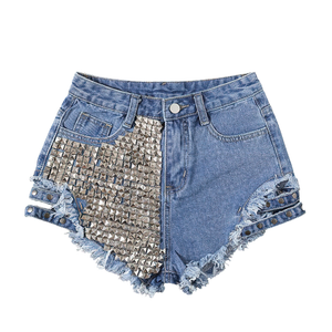 Fashion Women's Denim Mini Shorts / High Waisted Ladies Distressed Shorts