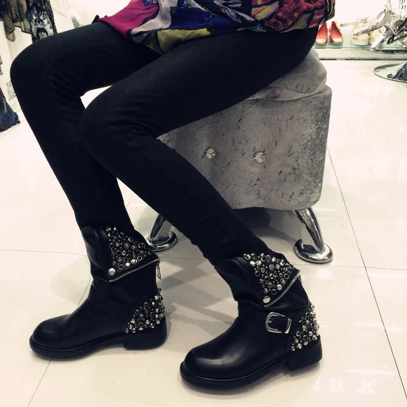 Fashion Women's Genuine Leather Ankle Boots / Black Warm Short Shoes for Lady