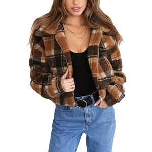Fashion Women's Plaid Lamb Wool Jacket / Vintage Zipper Fleece Warm Jacket