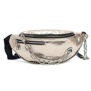 Fashion Women's PU Leather Belt Bags / Soft Belt Pouch with Chain Decorations