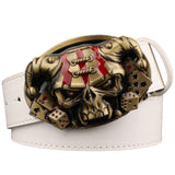 Faux Leather Belt with Skull / Joker Poker card metal buckle belts / Demon Clown Rock Style Belt - HARD'N'HEAVY