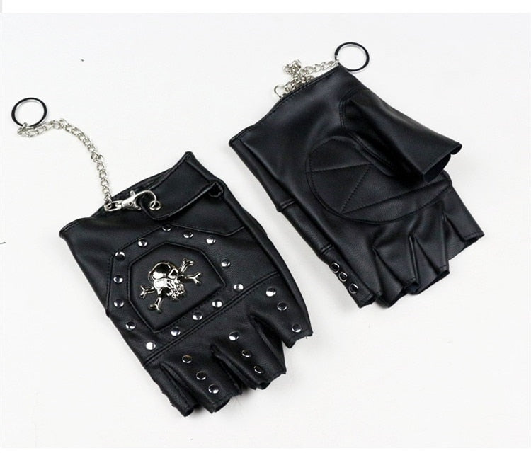 Faux Leather Half-finger Gloves  With Metal Skull Head & Rivets / Rock Style Gloves for Punk & goth - HARD'N'HEAVY