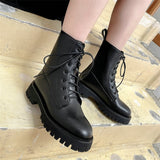 Female Square Heel Lace-Up Ankle Boots / Cow Patent Leather and Round Toe Winter Women Shoes - HARD'N'HEAVY
