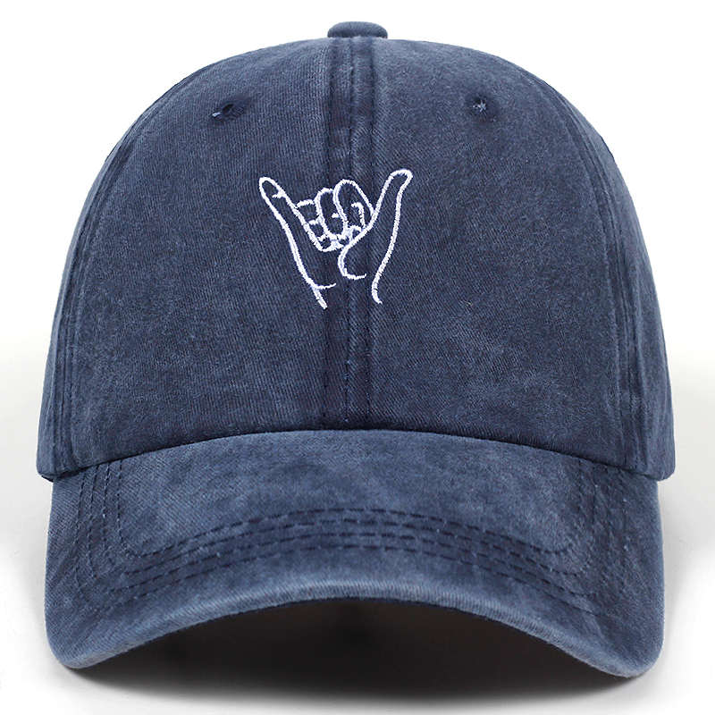 Cap with Finger embroidery / Washed Baseball Caps / Adjustable Rock Style Cotton hat Women Man - HARD'N'HEAVY