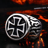 Fire Detail Cross Biker Ring / Rock Style Design Stainless Steel Jewelry - HARD'N'HEAVY