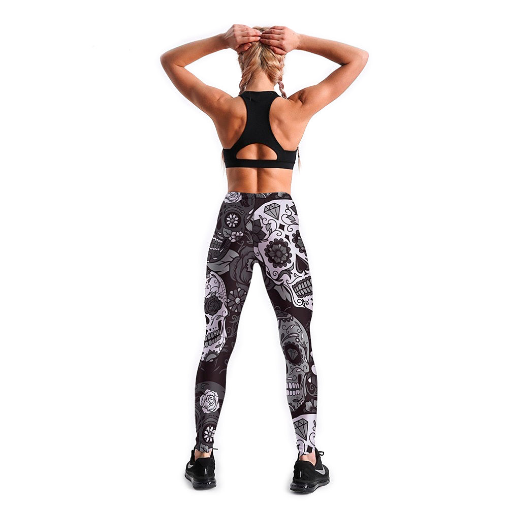 Fitness Slim Women's Black&White skull Leggings / Stretch Print Pants in Alternative Fashion - HARD'N'HEAVY