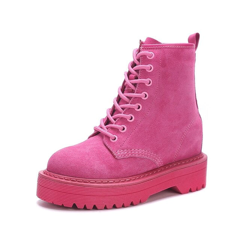 Flat Platform Suede Boots for Women / Autumn/Winter Round Toe Lace-up Pink and Black Boots - HARD'N'HEAVY