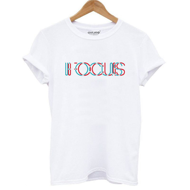 Focus print women t-shirt / vintage rock t shirts / o-neck loose women punk rock t shirts - HARD'N'HEAVY