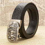 Genuine Cow Split Leather Men's Belt / Automatic Crocodile Pattern Cowhide Volves Buckle Belts - HARD'N'HEAVY