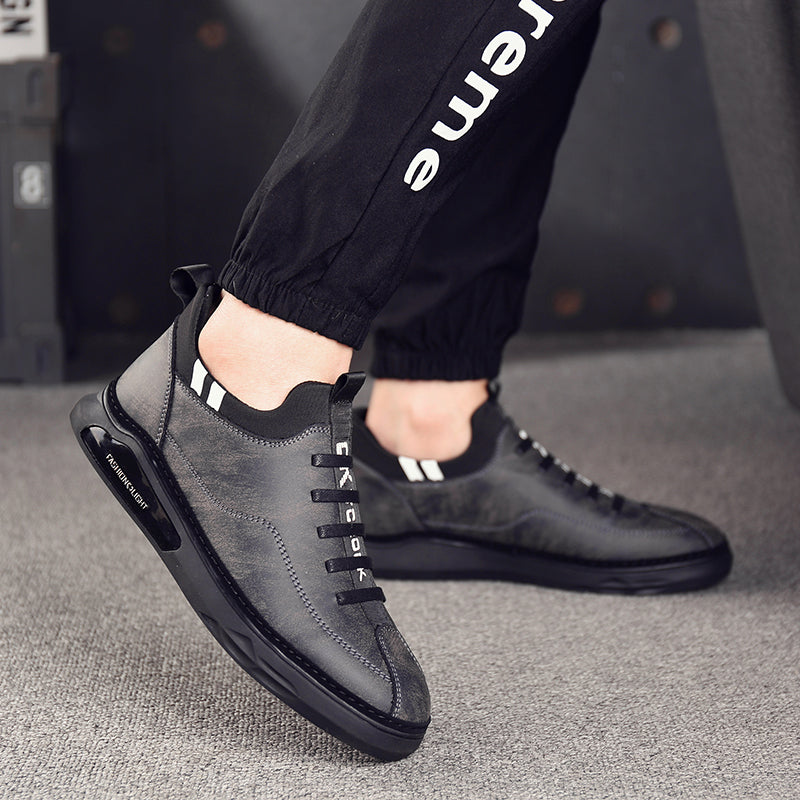 Genuine Leather Breathable Sneakers / Rock fashion Male Flat Shoes / Outdoor Rocker Shoes - HARD'N'HEAVY
