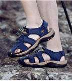 Male Genuine Leather Sandals / Summer Beach Shoes / Alternative Fashion Outdoor slingbacks - HARD'N'HEAVY
