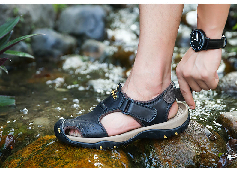 Genuine Leather Male Sandals / Summer Beach Outdoor Shoes / Casual Alternative Fashion - HARD'N'HEAVY