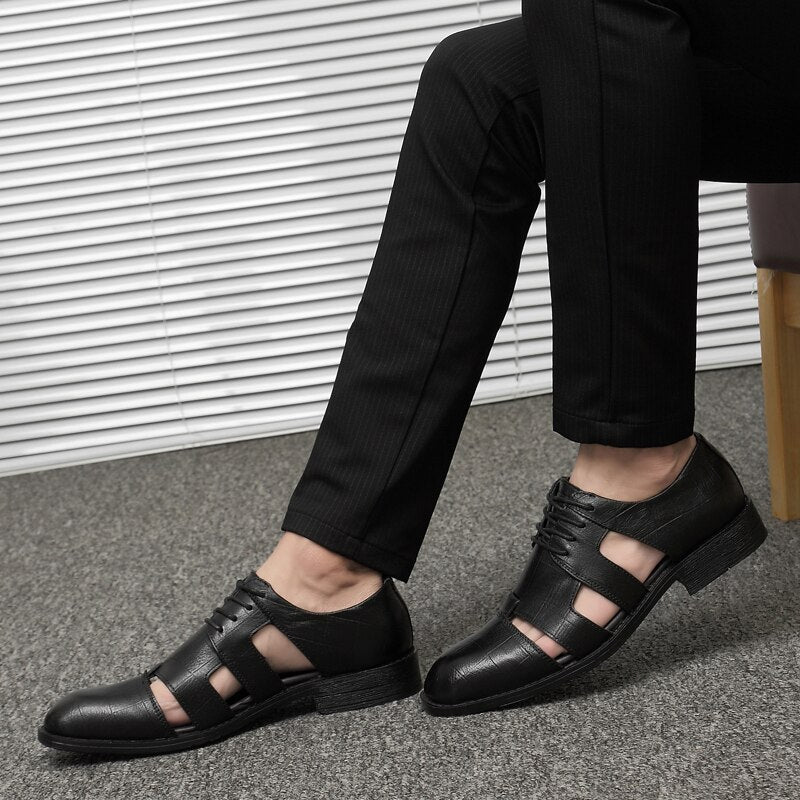 Genuine Leather Men Sandals / High Quality Shoes for Rocker / Grunge Outfits - HARD'N'HEAVY