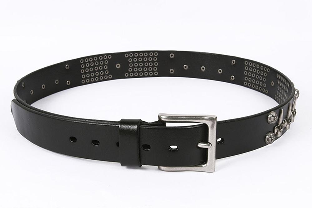 Genuine Leather Metal Belt Rock Style Skull Punk Men Belt Jeans White Stud Cowboy Strap Cinturon - HARD'N'HEAVY