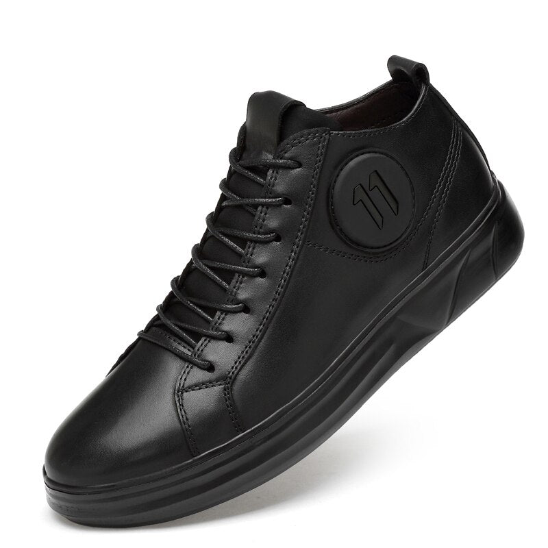 Genuine Leather Mid-top Men Sneakers / Comfortable Alternative fashion Shoes / Rave Outfits - HARD'N'HEAVY