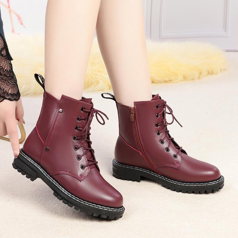 Genuine Leather Snow Ankle Boots for Women / Warm Wool Autumn and Winter Female Shoes - HARD'N'HEAVY