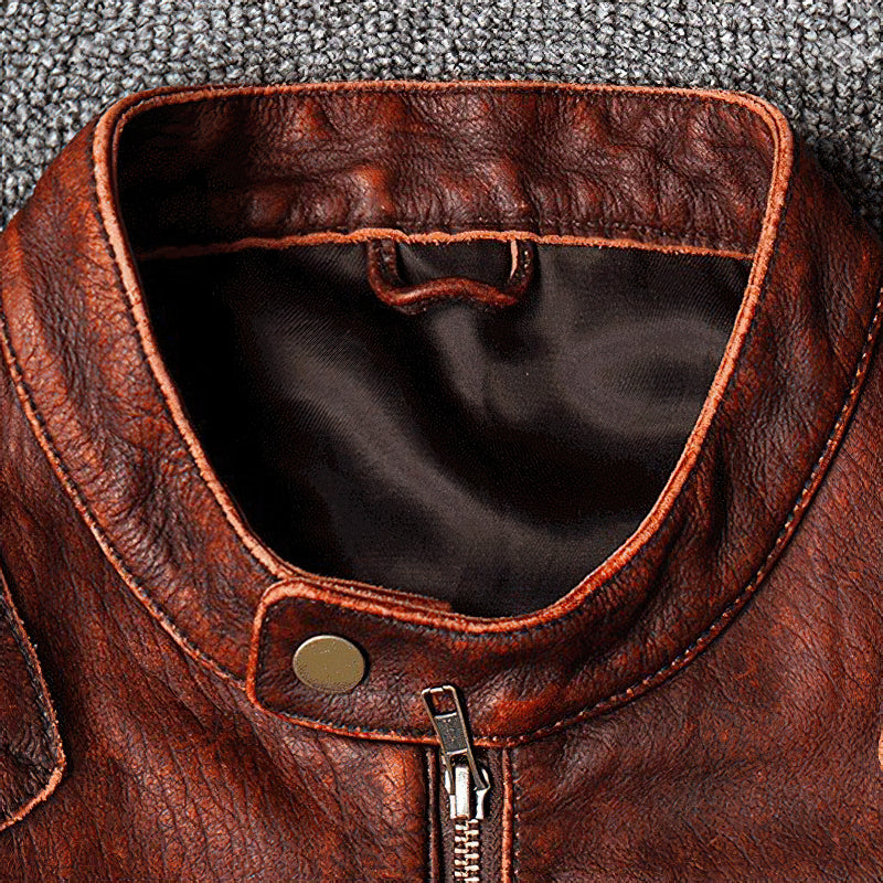 Genuine Leather Stylish Warm Men's Jacket / Vintage Cool Motorcycle Clothing In 3 Colors