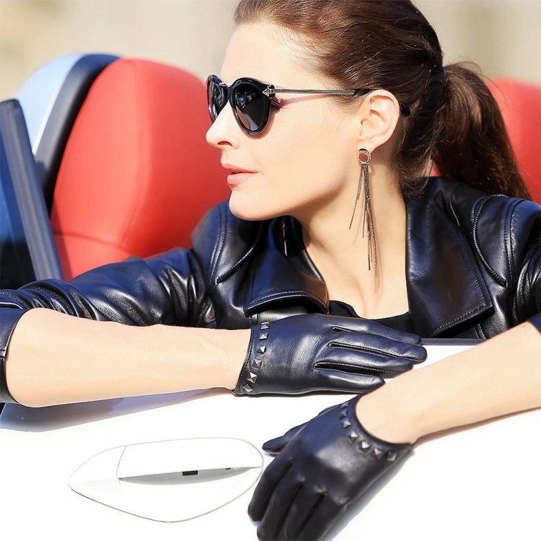 Genuine Leather Women Gloves / Wrist Rivet Sheepskin - Lambskin Thin Rock style Gloves - HARD'N'HEAVY