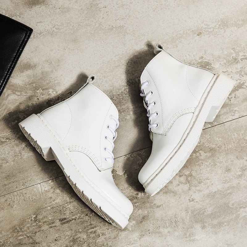Genuine Leather Women white ankle Boots / Motorcycle Rock Style Autumn and Winter Shoes - HARD'N'HEAVY