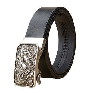 Genuine Split Leather Belt With Chinese Dragon / Cowskin Belt With Metal Automatic Buckle