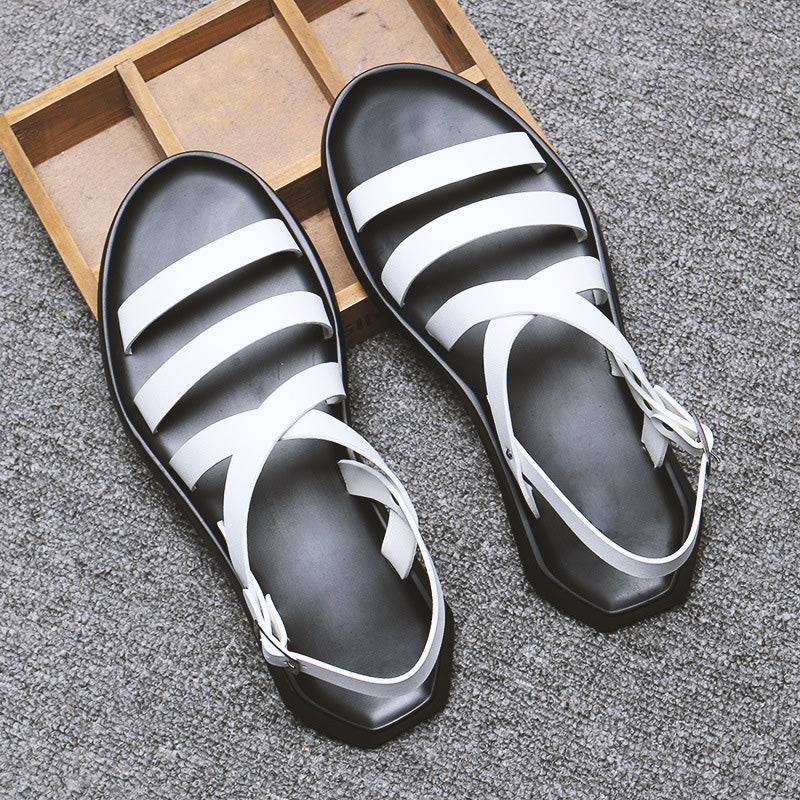 Gladiator Sandals / Men Beach Leather Flats / Alternative fashion Summer Shoes - HARD'N'HEAVY