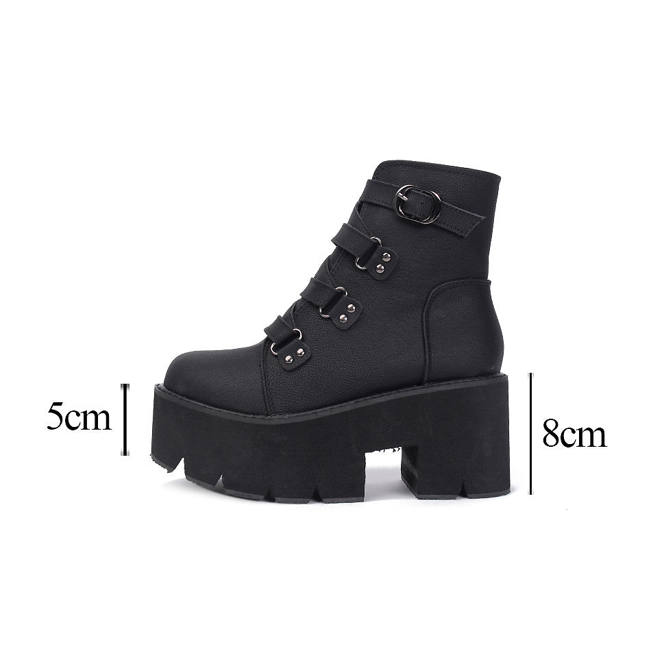 Goth Boots Women Platform Ankle Rubber Sole Buckle Black PU Punk Rock Style Spring Autumn Shoes - HARD'N'HEAVY