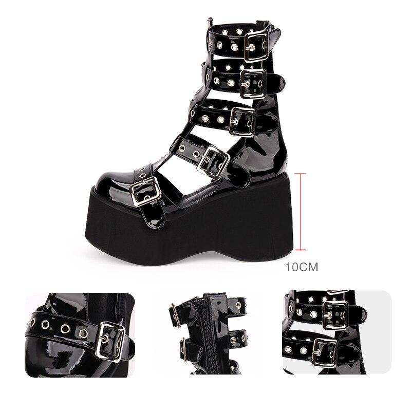 Goth Platform Boots / Women punk Motorcycle buckle Boots / Rocker shoes - HARD'N'HEAVY