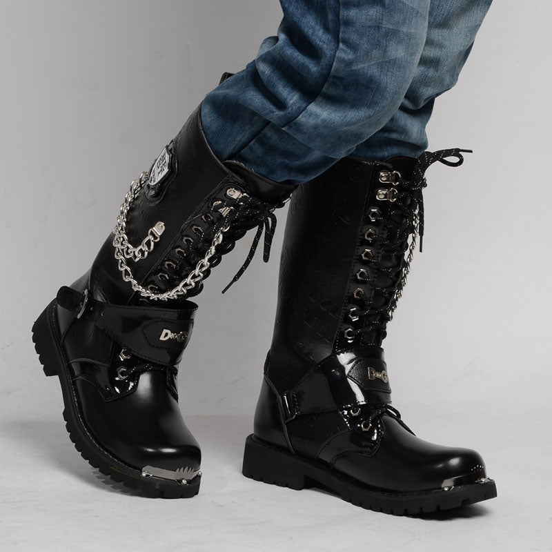 Gothic Army Boots / Rock Style Men Combat Mid Calf with Metal Chain Punk Shoes / Rave Outfits - HARD'N'HEAVY