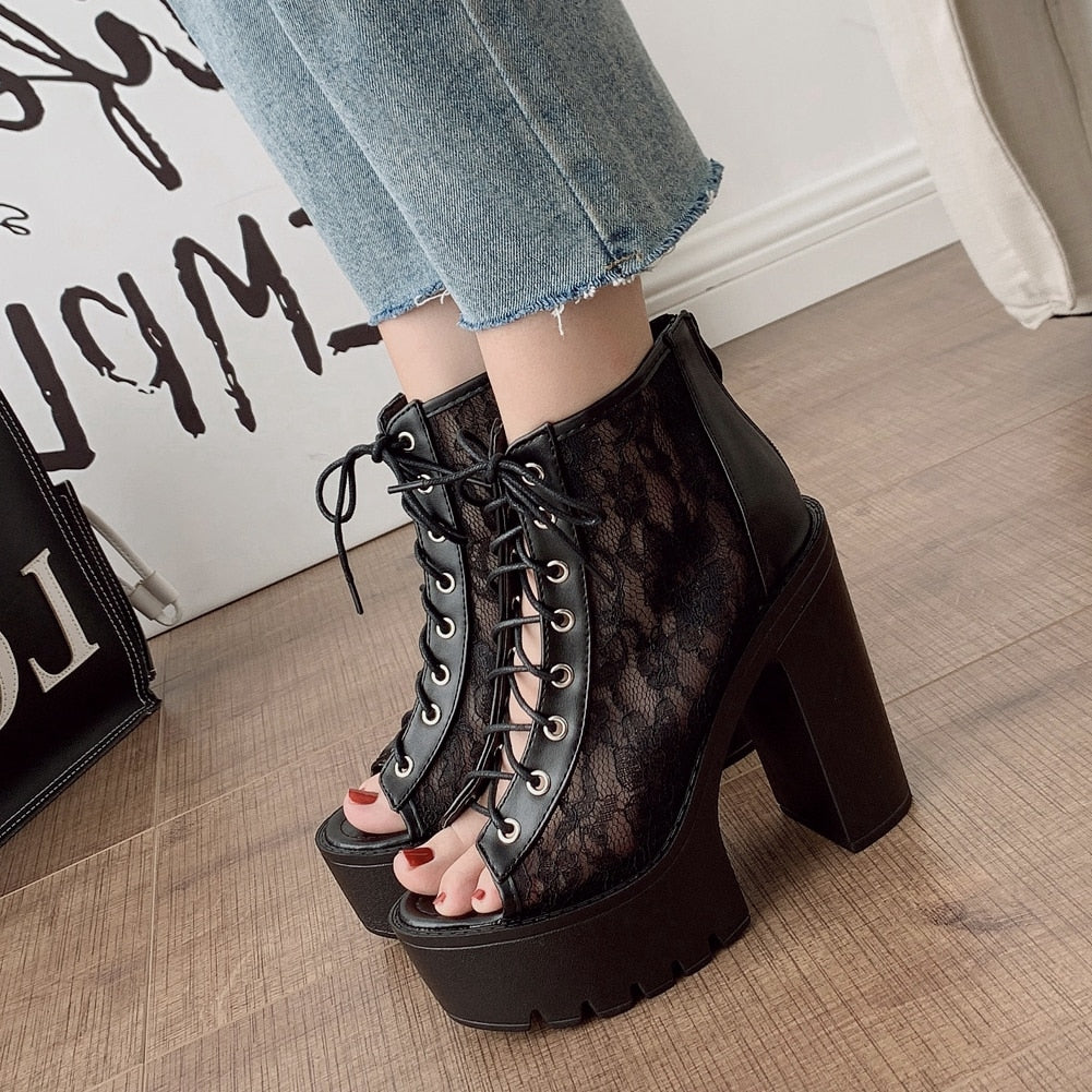 Gothic Black & White Sandals Platform with Square Heels / Alternative and Rock Style High Heel Shoes - HARD'N'HEAVY