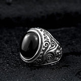 Gothic Blue and Black Stone Ring / High-Quality Stainless Steel / Alternative Fashion Jewelry - HARD'N'HEAVY