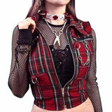 Gothic Red Women Top Blouses / Slim Zipper Tops with Chain / Female Goth Plaid Clothing