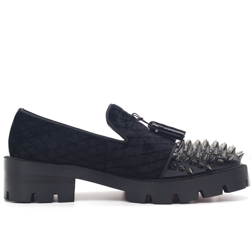 Gothic Genuine Leather Loafers on Thick Platform with Rivets / Alternative Fashion Metal Style - HARD'N'HEAVY