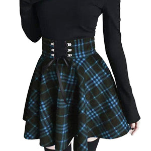 Gothic Lolita Skirt for Women / Ladies Plaid Pleated Ball Gown High Waist Lace Up Wool Skirt - HARD'N'HEAVY