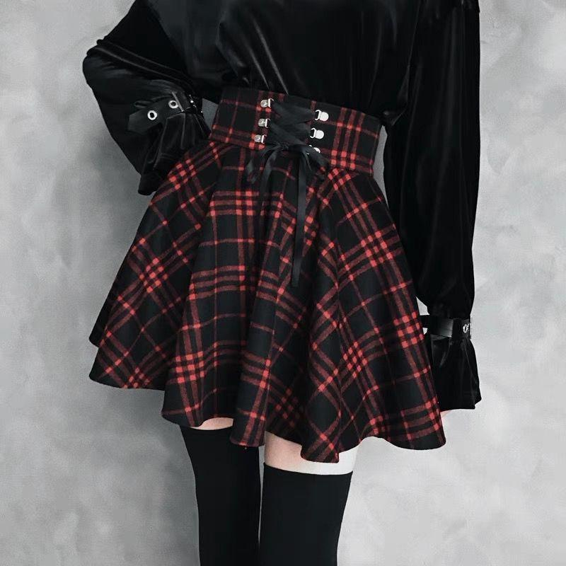 Gothic Lolita Skirt Women Ladies Black Red Plaid Pleated Ball Gown High Waist Lace Up Wool Skirt - HARD'N'HEAVY