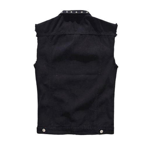Gothic Mens Rivet Vest / Vintage Black Jeans Sleeveless Jackets / Waistcoats alternative clothing - HARD'N'HEAVY