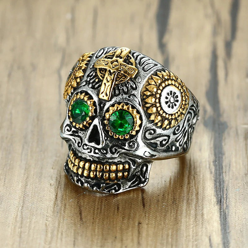 Gothic Rock Jewelry / Gold Color Stainless Steel Aneis Cross Skull Ring With CZ Stone / Gothic rings - HARD'N'HEAVY