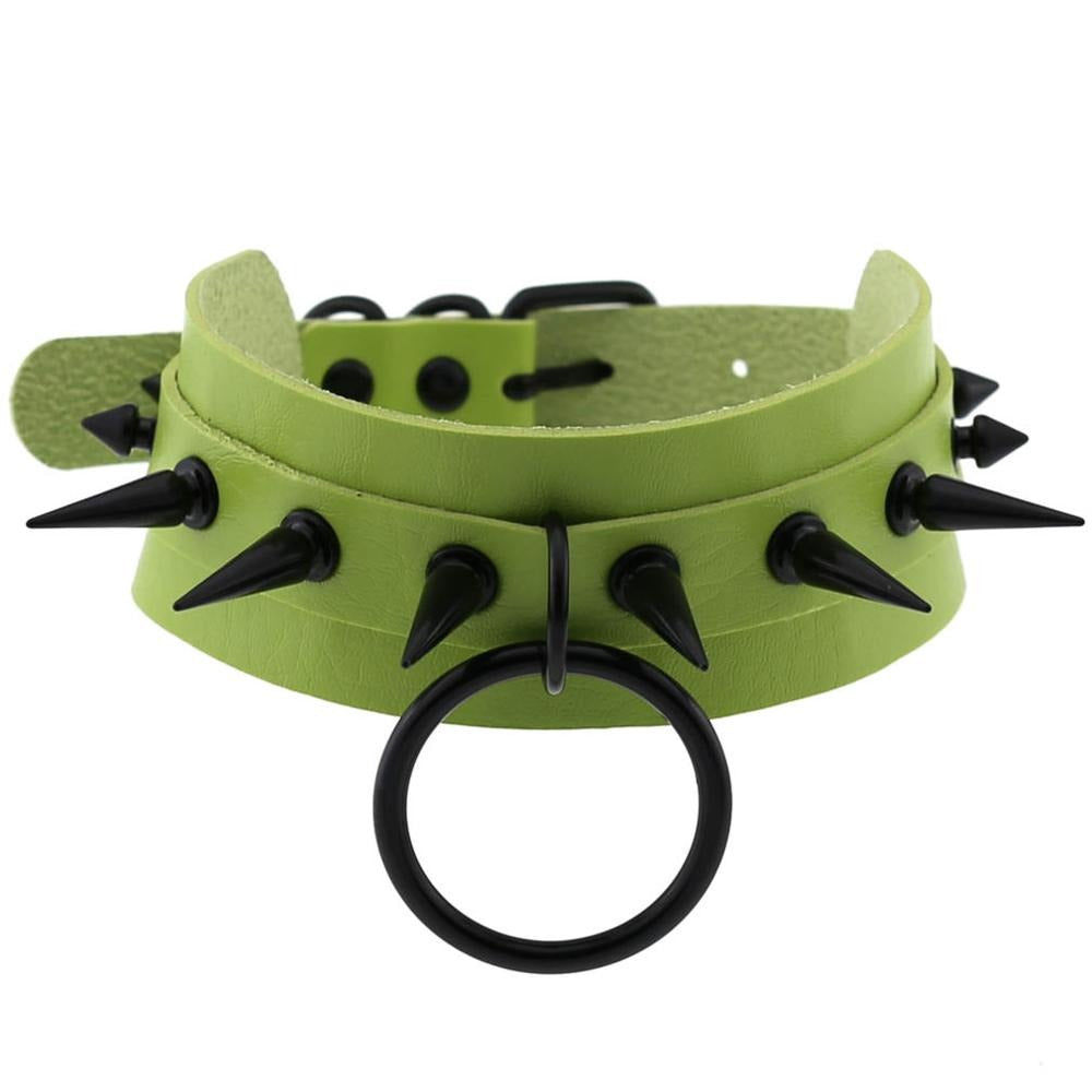 Gothic Spiked Choker for Men and Women / Studded Leather Choker with Ring / Unisex Rave Outfits - HARD'N'HEAVY