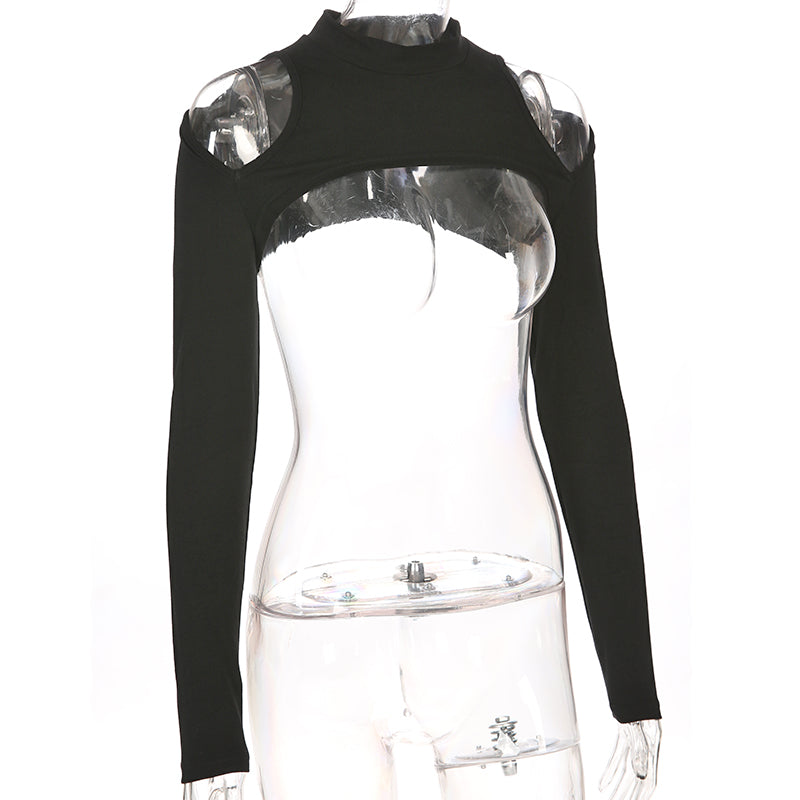 Gothic Street Style / Female Cold Shoulder Crop Top with Long Sleeves / Sexy Rave Outfits - HARD'N'HEAVY