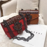 Gothic Style Female Square Bag Rivet Lock Chain Shoulder Messenger / Women Chain Small Bags - HARD'N'HEAVY