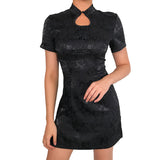 Gothic Style Jacquard Vintage Black Dress / Women's Embroidery Summer Dress - HARD'N'HEAVY