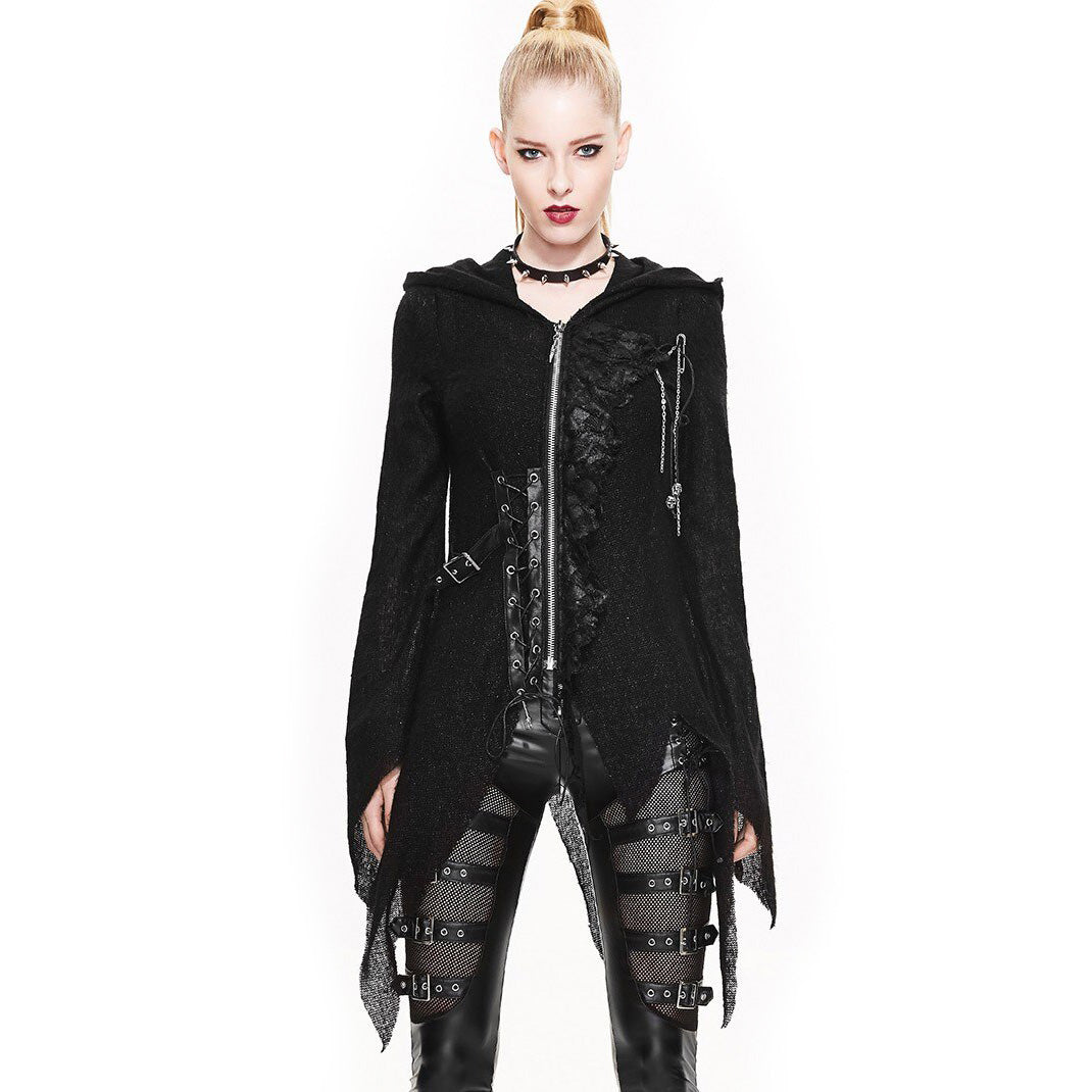 Gothic Women Asymmetrical Hooded Sweater / Black Personalised Coat Outwear / Devil Fashion Outfit - HARD'N'HEAVY