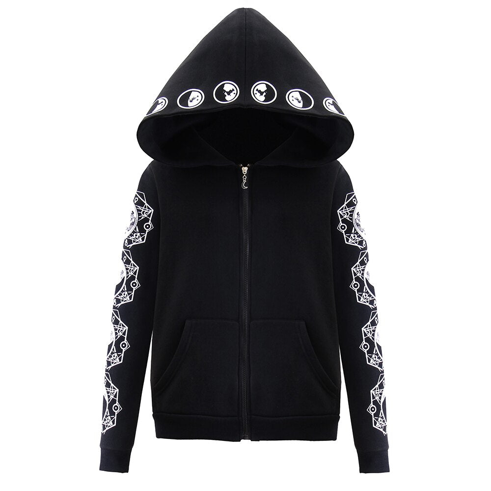 Gothic Women Hoodie / Long Sleeve Hooded Zip-up Sweatshirts / Hooded Female Rock Style Jumper - HARD'N'HEAVY