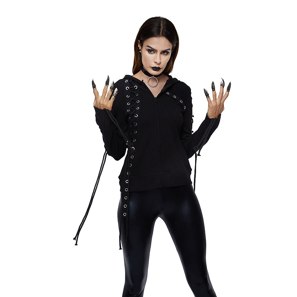 Gothic Women Lace-up Hoodies / Hooded Sweatshirt with Long Sleeve - HARD'N'HEAVY