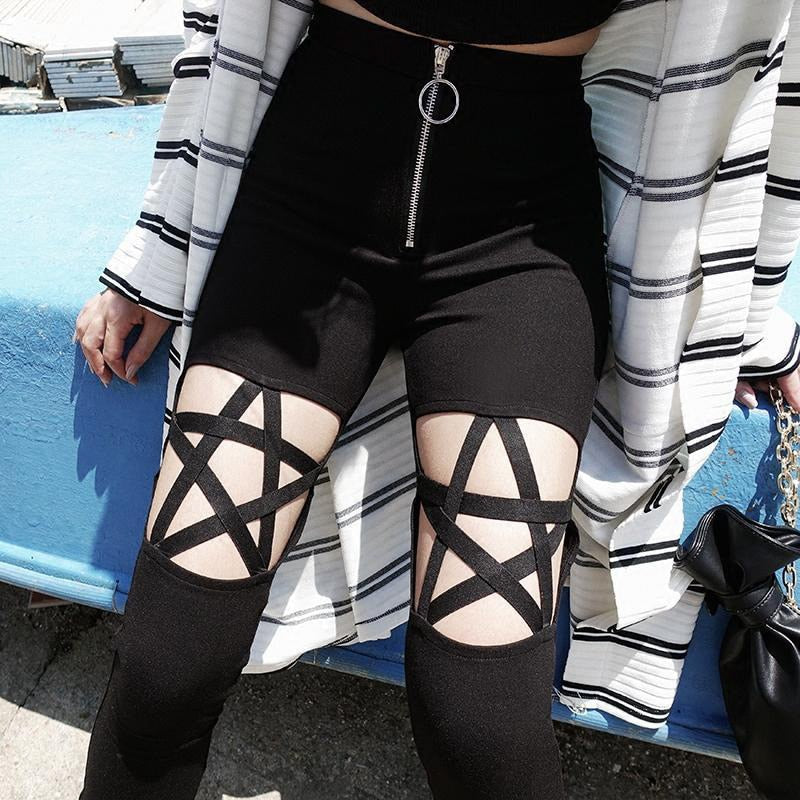 Gothic Women's Pencil Pants / Hollow Hole / High Waist Pentagram Stretch Bandage Pants - HARD'N'HEAVY