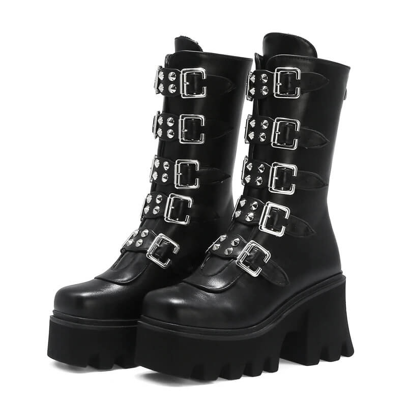 Gothic Womens Platform Boots with Buckle Strap and Zipper Creeper / Mid Calf Military Combat Boots - HARD'N'HEAVY