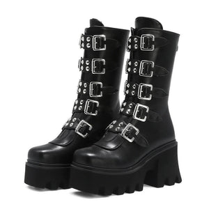 Gothic Womens Platform Boots with Buckle Strap and Zipper Creeper / Mid Calf Military Combat Boots