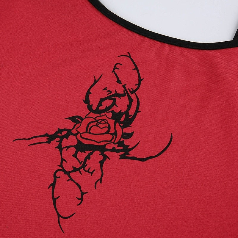 Grunge Red Crop Top for Women / Gothic Style Summer Backless Top with Rose Printed